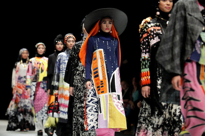 OCTOBER 26: A general view from the runway of London College of Fashion Residential Program featuring Spring Summer 2016 collection by Dian Pelangi in collaboration with Odette Steel and Nelly Rose  during the Jakarta Fashion Week 2016 in Senayan City, Jakarta.